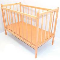Детская кроватка для новорожденных ольха деревянная Светло-коричневая (9861)