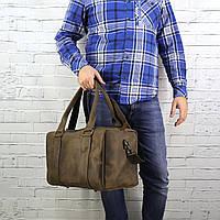 Дорожная сумка Mihey cube short олива из натуральной кожи crazy horse 1470908