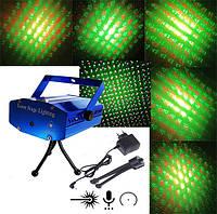 Диско лазер, Стробоскоп, Лазерный проектор 6 в 1 Новогодний
