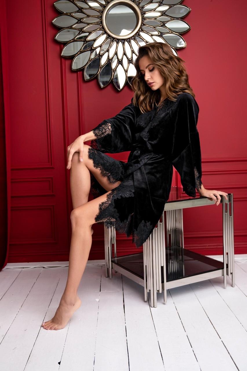 Черный велюровый халат Suavite Мериам-Х