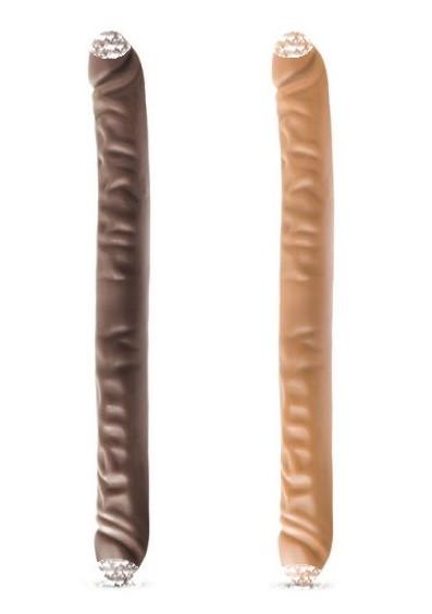 Фаллоимитатор двухсторонний Dr. Skin Chocolate/Mocha 45см