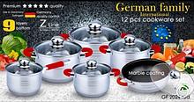 Набор посуды German Family GF-2024 красные силиконовые ручки 12 предметов