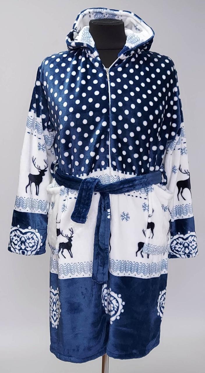 Женский халат «Зимние олени» на молнии с капюшоном (с 46 по 58 р)