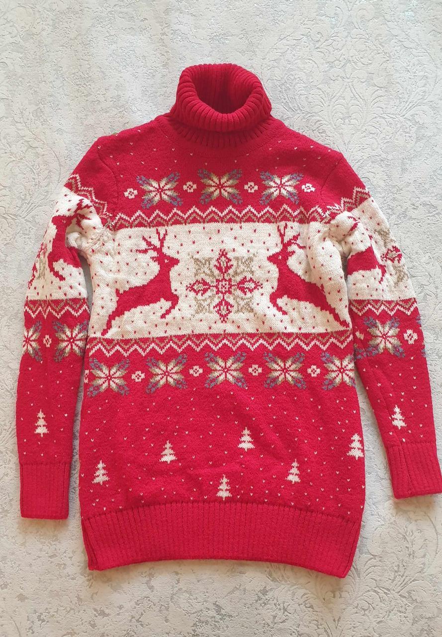 Красный свитер с оленями для мальчиков  подростков