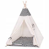 Детская палатка (вигвам) Springos Tipi XXL TIP02 White/Black
