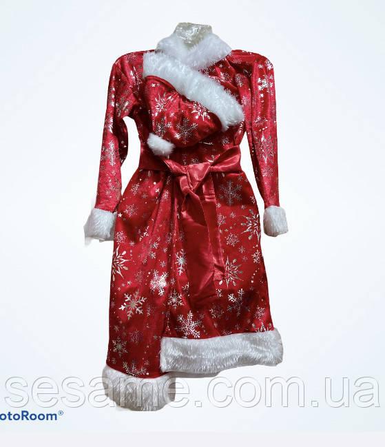 Новогодний  подростковый костюм  Дед Мороз красный принт Мнежинка