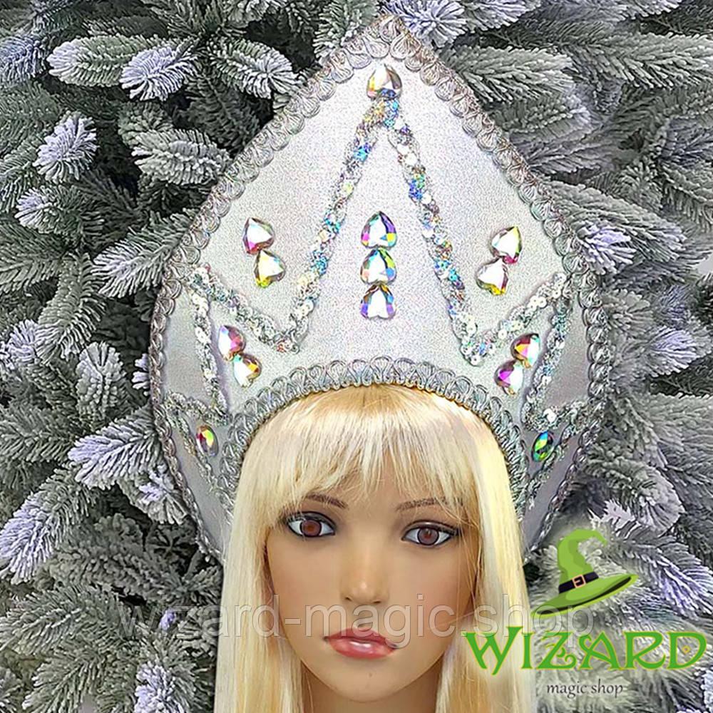 Кокошник Снежная королева серебро 10371