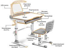 Evo-Evo kids-19+лампа | Учнівський стіл парта одномісна і стілець регульовані, фото 2