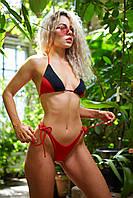 Черно-красный пляжный купальник