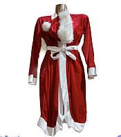 Новогодний  подростковый костюм  Дед Мороз красный Велюр, фото 1