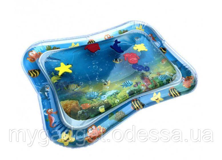 Мини-бассейн водяной коврик с рыбками( 66х55 см Синий )