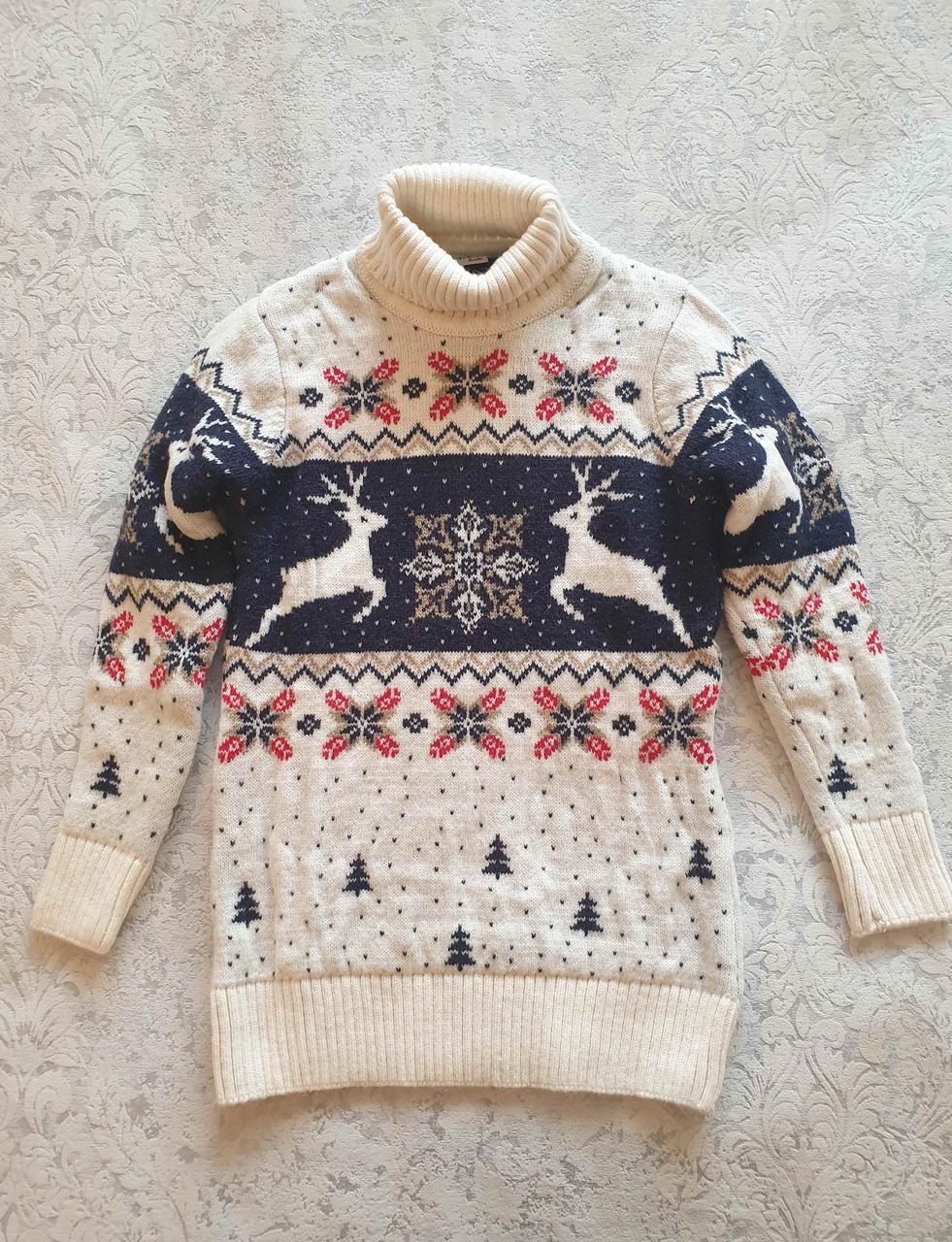 Белый свитер с оленями для мальчиков 11-15 лет
