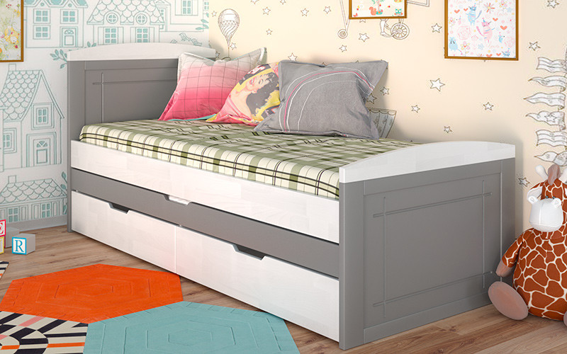 Ліжко Компакт 2 спальних місця (Бук) Арбодрев