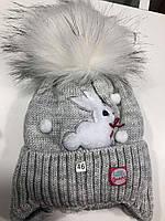 Зимняя шапочка для девочки Зайка (размер 44-48 ), фото 1
