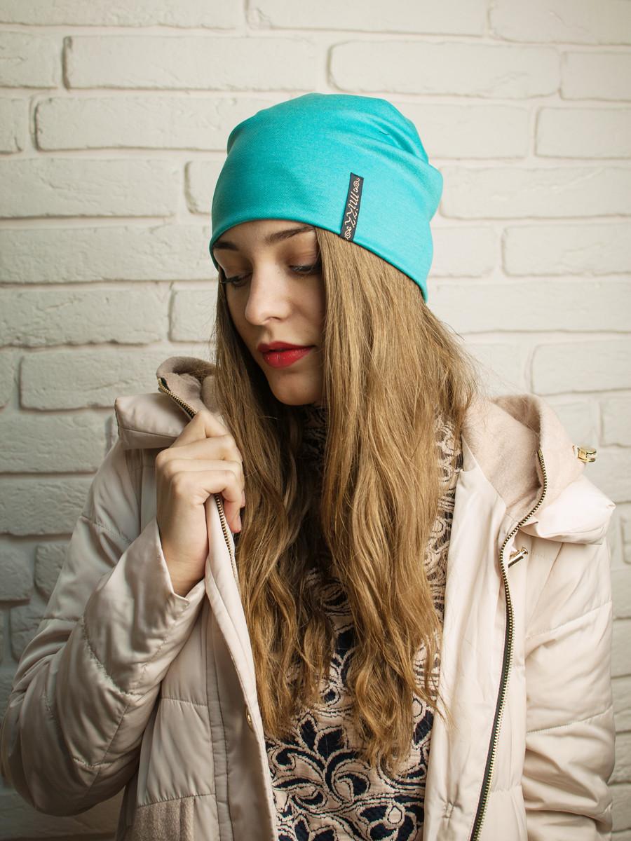 Женская бирюзовая трикотажная шапочка