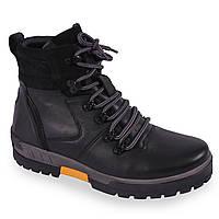 Зимняя мужская обувь Кадар (натуральная кожа, натуральній мех, черные, теплые, на шнуровку)