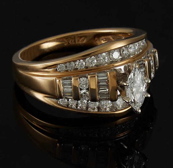 Золотое кольцо с бриллиантами С43Л1№12