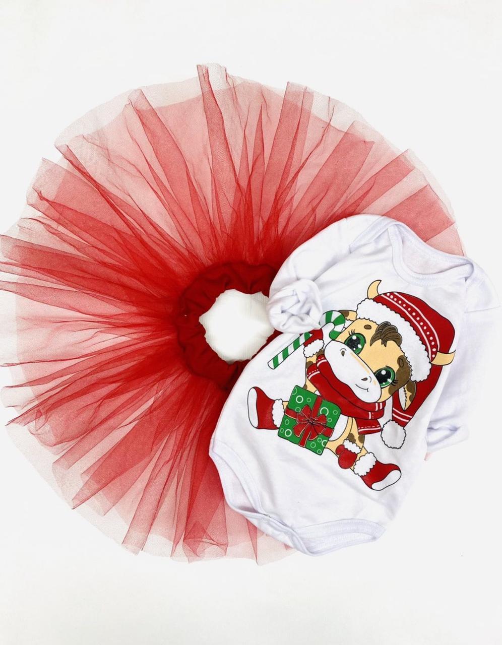 """Новогодний костюм """"Веселая коровка"""", футер + фатиновая юбка, 68 - 86 см"""