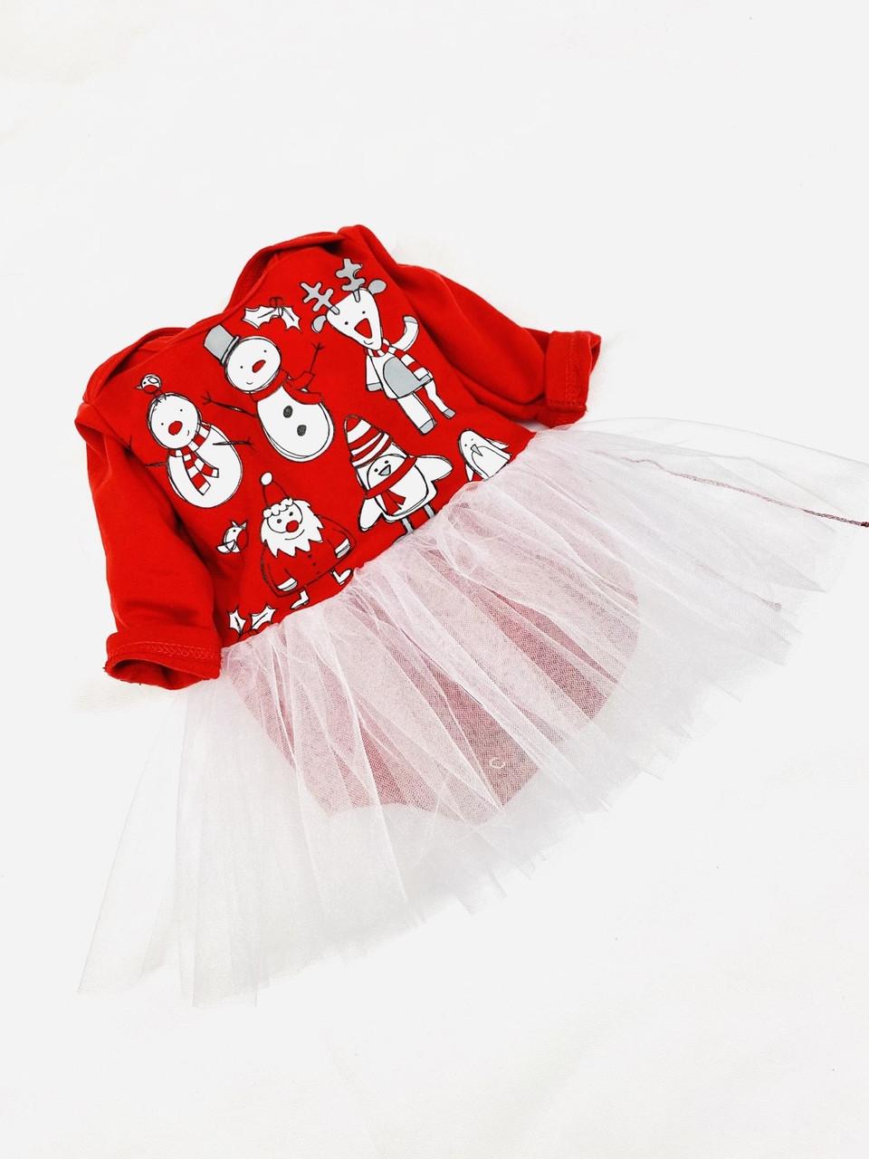 """Новогодний костюм """"Снеговички"""", футер + фатиновая юбка (вшитая), 68 - 86 см"""