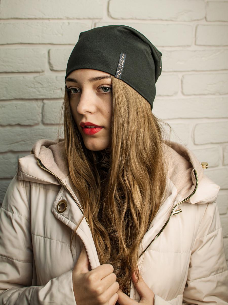 Молодежная трикотажная женская шапка