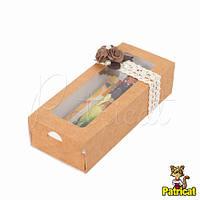 Крафт-коробка упаковочная пенал с прозрачной крышкой 17x7x4 см
