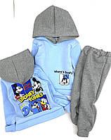 """Костюм спортивный с капюшоном """"Looney Tunes"""", трехнить, очень теплый, от 3 до 7 лет"""