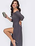 Длинное платье с открытыми плечами и  разрезом сбоку, фото 7