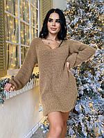 Женское вязанное платье-туника(свитер) оверсайз, в расцветках ЛА-1-1220