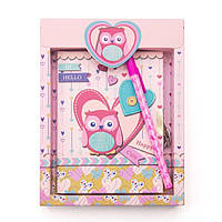 """Блокнот детский в подарочной упаковке """"Сова в сердечке"""" на замочке (641957-А), фото 1"""