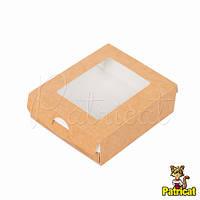 Крафт-коробка упаковочная пенал с прозрачной крышкой 10x8x3 см