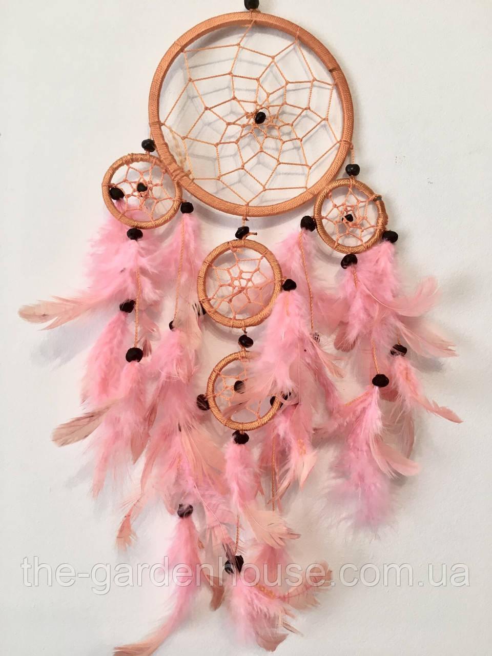 Ловец снов оранежевый с розовым 12 см