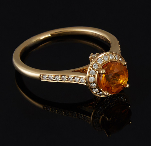 Золотое кольцо с бриллиантами и цитрином С43Л1№3