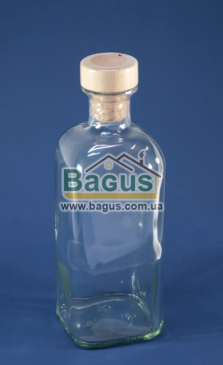 """Бутылка стеклянная 1,0л с корковой пробкой, квадратная форма """"Fraska"""""""
