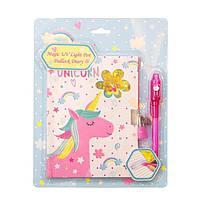 """Блокнот детский с жидкими блестками и ультрафиолетовой ручкой  """"Милый единорог"""" на замочке (BW361956-P)"""