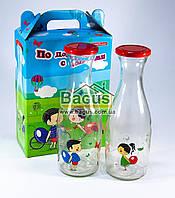 """Набір скляних пляшок (2шт. по 1л) """"По дорозі з хмарами"""" в упаковці 20000/D, фото 1"""