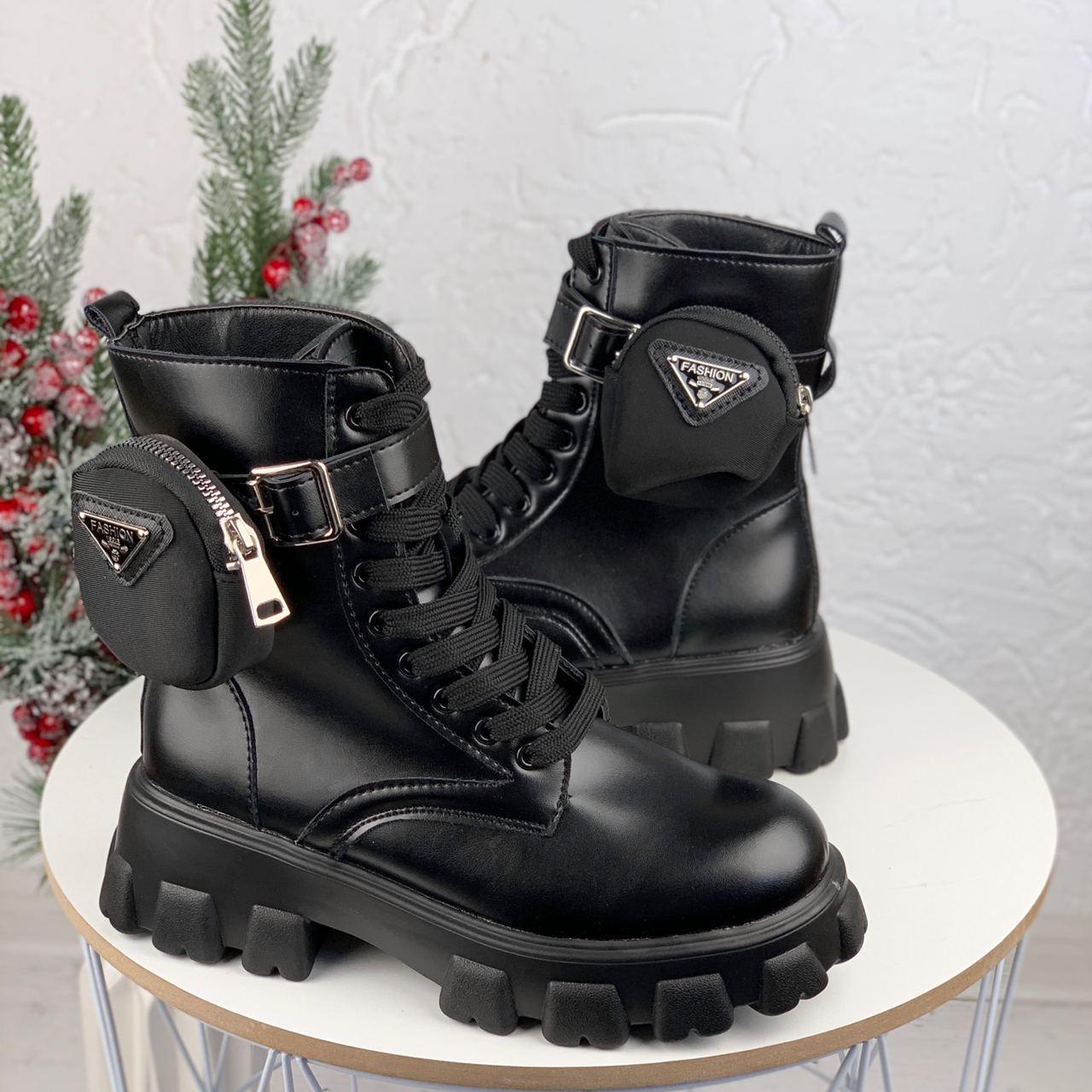 Женские ботинки ДЕМИ / осенние черные эко-- кожа