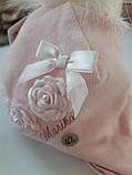 Нарядная зимняя белая шапочка для девочки,размер 42, фото 4