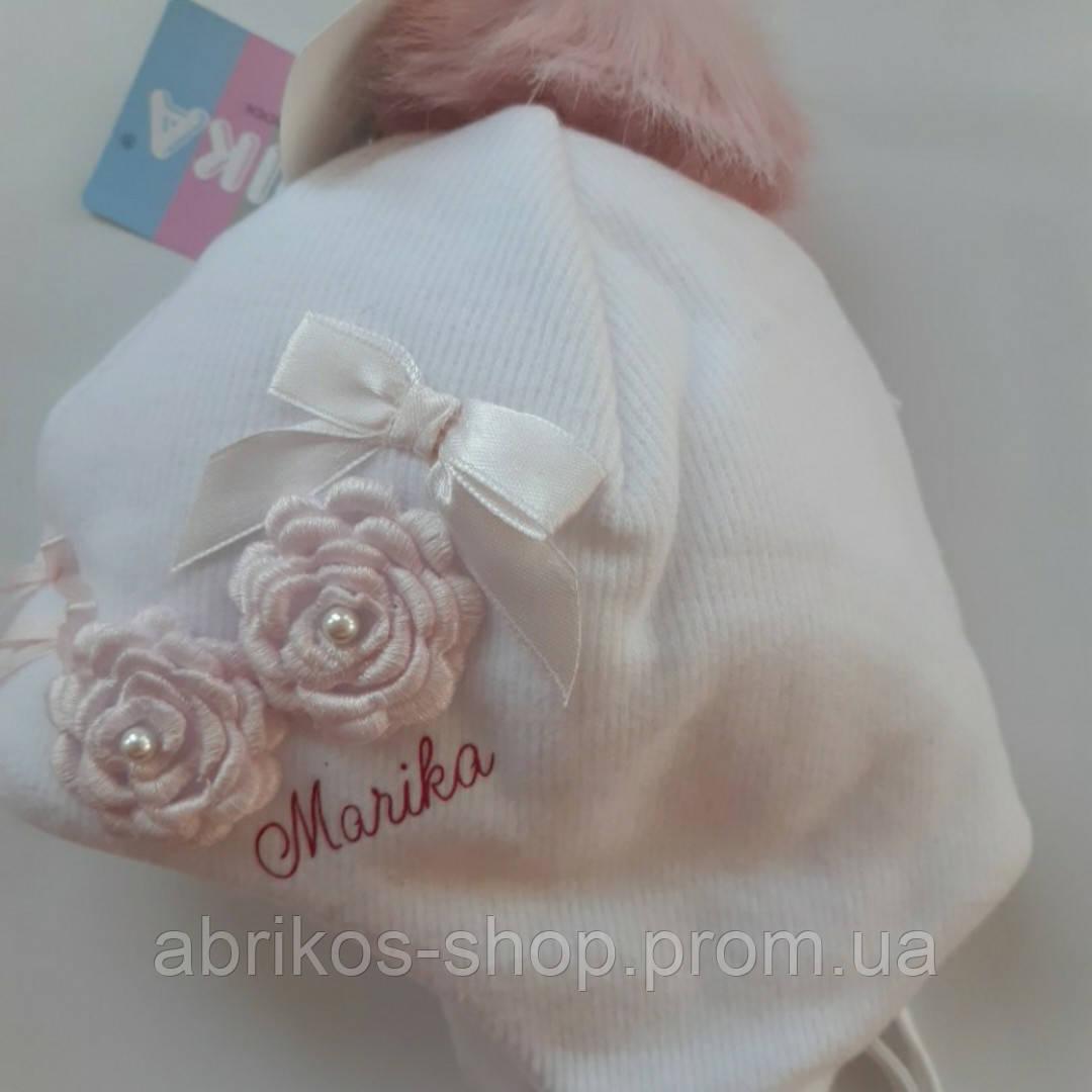 Нарядная зимняя белая шапочка для девочки,размер 42