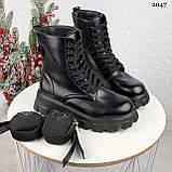 Женские ботинки ДЕМИ / осенние черные эко-- кожа, фото 2