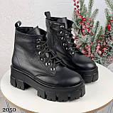 Только 40 р 26 см! Женские ботинки ЗИМА черные на шнуровке натуральная кожа, фото 5