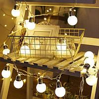 Гірлянда ретро лампочки 20 led 7м білий теплий гирлянда светодиодная лофт лампы эдисона теплый белый матовый