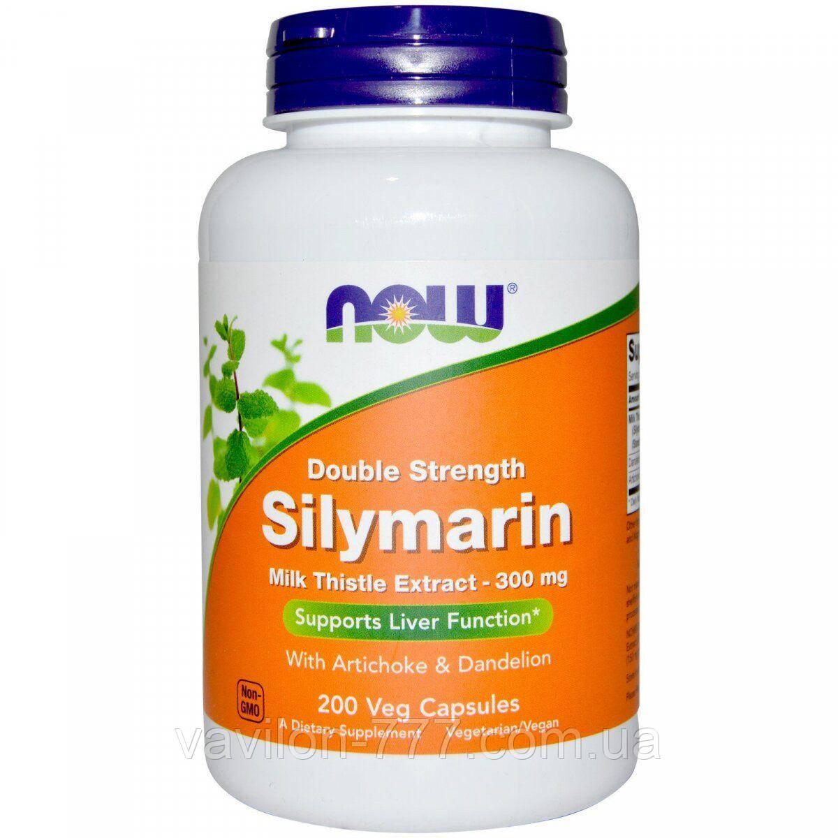 Now Foods, Силимарин двойной концентрации, 300 мг, 200 растительных капсул