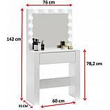 Туалетный Столик косметический трюмо с большим зеркалом с подсветкой МДФ ламинированной с двух сторон белый, фото 6