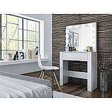 Туалетный Столик косметический трюмо с большим зеркалом с подсветкой МДФ ламинированной с двух сторон белый, фото 3