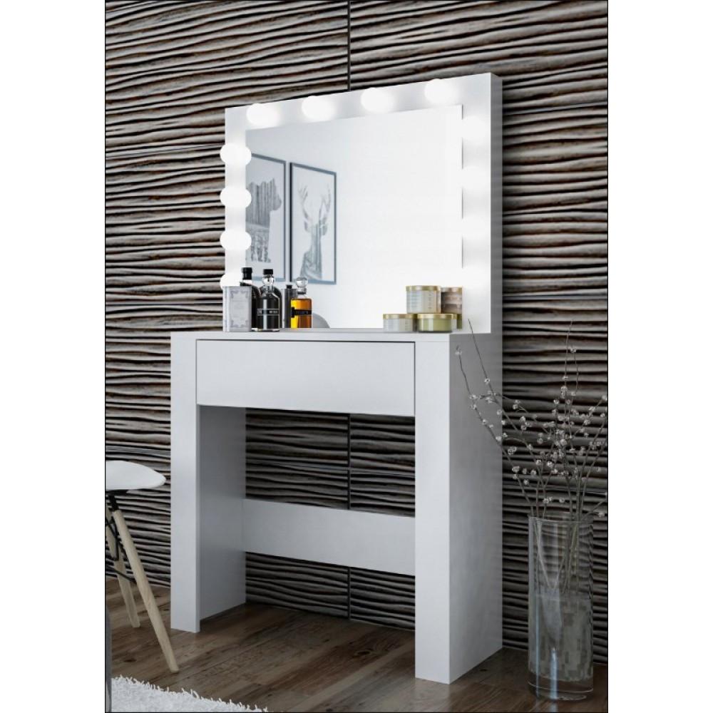 Туалетный Столик косметический трюмо с большим зеркалом с подсветкой МДФ ламинированной с двух сторон белый