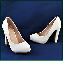 Женские Белые Туфли на Каблуке Лаковые Модельные (размеры: 37,38,39) - 702