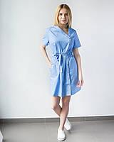 Медицинская туника Наоми голубая застегивается на кнопки
