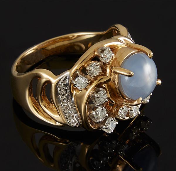Золотое кольцо с бриллиантами и сапфиром С44Л1№27