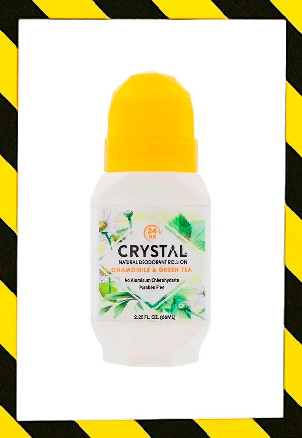 Crystal Body Deodorant, Натуральный шариковый дезодорант с ромашкой и зеленым чаем, 2,25 жидкой унции (66 мл)