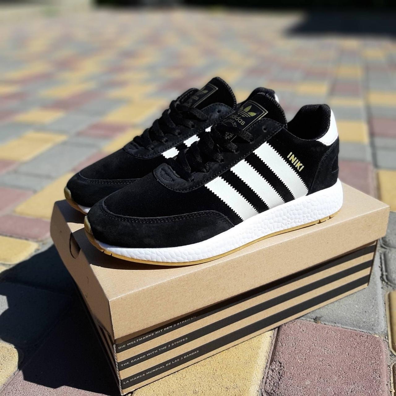 Женские кроссовки Adidas INIKI (черно-белые) 20196